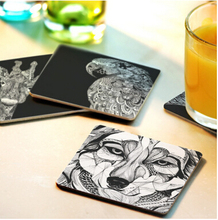 CFen A's Creative Wood Coasters Cup pad Non-slip heat proof coffee drink Coasters Cup Mat DIY hand painted,4pcs/lot,Fyy56
