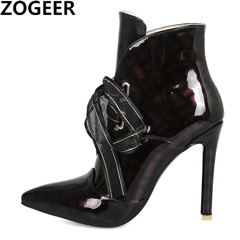 womens shiny patent leather lace up chunky high heel ankle boots shoes black hot