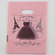 wholesale Free Shipping 100pcs 15x20cm Pink Eiffel Tower Gift Bags Plastic Boutique Pouches Shopping Gift Package Bag(China)