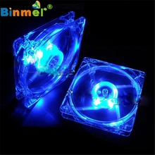 Brand New Blue Red Quad 4-LED Light Neon Clear 120mm PC Computer Case Cooling Fan Mod Best Sell Popular for DIY Jun02