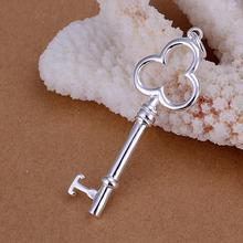 wholesale 925 STERLING SILVER KEY PENDANT NECKLACE FREE SHIPPING!