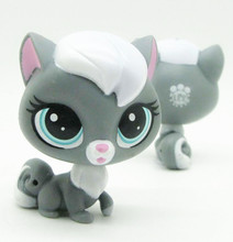 Original 1pc LPS quality cute toys Lovely Pet shop animal White hair grey Cat  action figure littlest doll