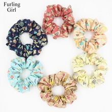 Furling Girl 1PC Cartoon Mushroom Patterned Fabric Hair Scrunchy  Ponytail Holder Hair ties Gum Hair Bands