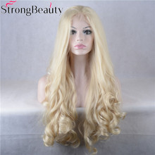 Strong Beauty Long Wavy Blonde Wigs Synthetic Hair Full Lace Front Wigs(China)
