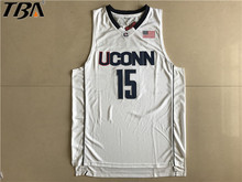 2017 New Uconn #15 Huskies Kemba Walker Home White Basketball Jersey For Men Embroidery Logos College basketball Jersey Retro(China)