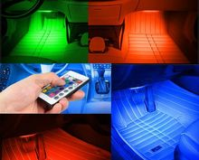 Wireless Remote/Music/Voice Control Car RGB LED Neon 2 Styles For Choose Interior Light Lamp Strip Decorative Atmosphere Lights