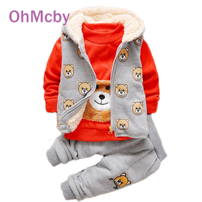 2017 Autumn Winter Baby Boys Cartoon Bear Clothing Sets Kids Girls Clothes Suits Toddler 3 Pcs Casual Sport hoodies Tracksuit<br><br>Aliexpress