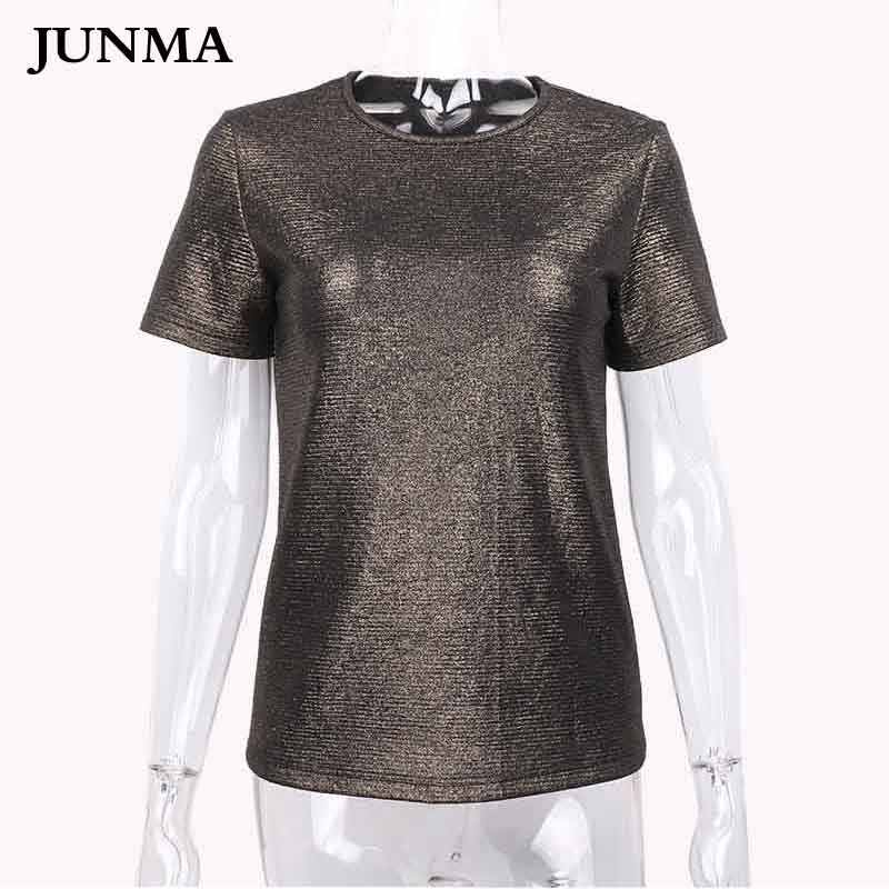 Detail Feedback Questions about Summer Shiny Lurex Tops Women Basic T Shirt  Casual O Neck Tee Shirt Woman Solid Cotton T Shirt Short Sleeve Elastic  2018 on ... b815a5ef5b9c