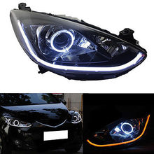 HID Headlight For Mazda 2 2011-2014 With LED Light Bar And White Angel Eyes HALO(China)