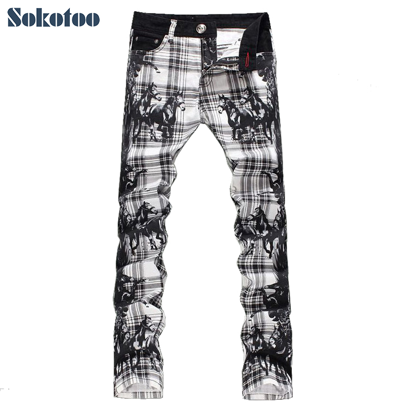 Sokotoo Mens fashion slim fit plaid horse print jeans Male elastic thin denim pants Long trousers Free shippingÎäåæäà è àêñåññóàðû<br><br>