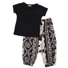 2016 Stylish Kids Baby Girls Boys Summer Clothes Set Tops T-shirt Haren Pants Leggings Outfits Set Age 2-7Y