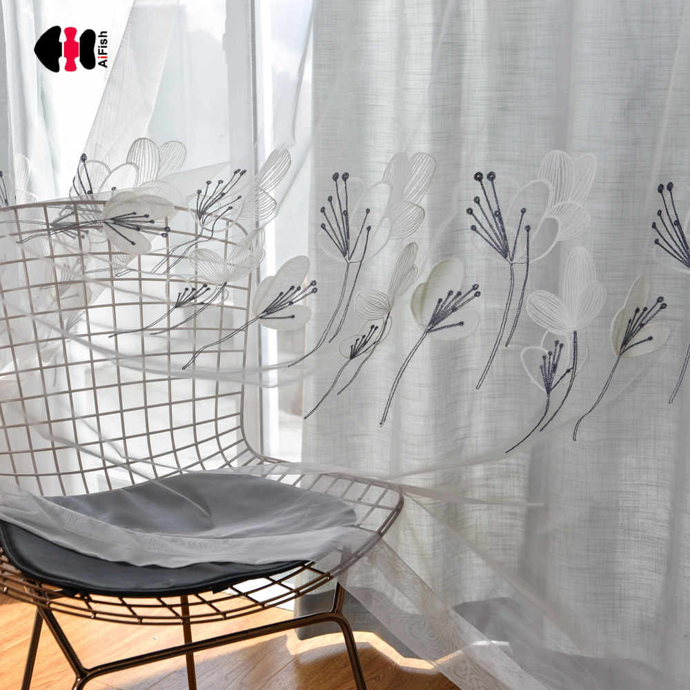 Pastoral Floral Embroidered Curtain Nets Cotton Line Wedding Bedroom Livingroom French Window Drapes Gauze WP059C