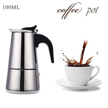 100ML Stainless Steel Espresso Coffee Pots Cafetiere Moka Coffee Maker Pot Household Latte Percolator Stove Tools Coffee Maker
