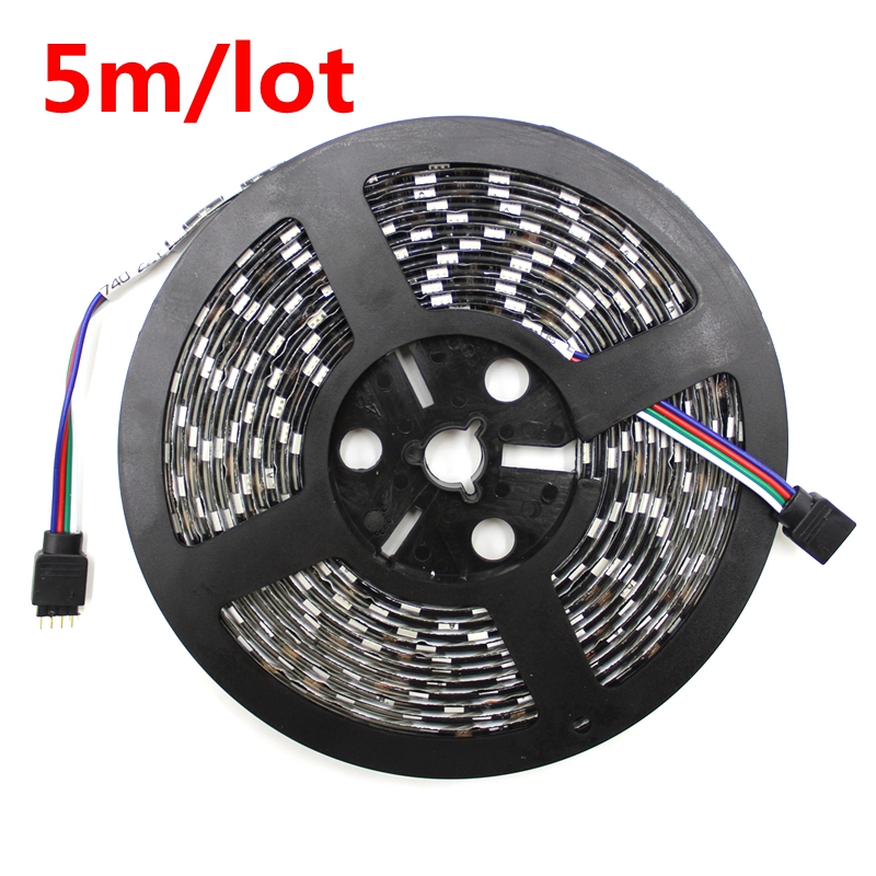 DC12V LED Strip 5050SMD 60LEDs/M Black PCB Board Flexible LED Light Waterproof RGB 5050 LED Tape For TV Background Decoration