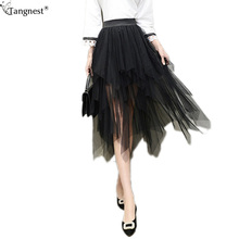 TANGNEST High Waist Black Chiffon Skirts 2017 New Stylish Fashion Brand Puffy Jupe Skirt Irregular Hem Women Tulle Skirts WQC475