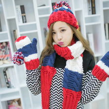 A winter warm hat scarf glove three-piece knitted wool knit suit is warm and lovely(China)