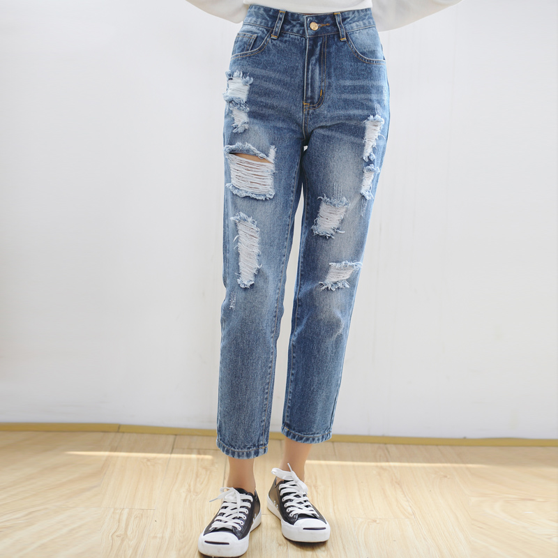 2017 new style Summer Fashion Slim Size BF Korean Loose Hole Jeans fashion brand Female Trousers Nine Sexy women pantОдежда и ак�е��уары<br><br><br>Aliexpress