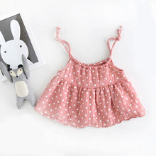 Baby Girls Pleated Dresses Toddler Dot Design Braces Dress For Princess Angel Gaughter Cute Style Cotton Dresses Summer