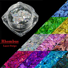 Laser Sparkly Rhombus 13 Colors Nail Art DIY Flake Tips Fashion Beauty Stripe Glitter Sequin Paillette Nail Sticker CHLW01-13(China)