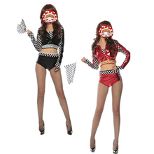 Short Style Sexy Car Racing Costume Women Black And Red High Waist Long Sleeve Sexy Racing Girl Suit Top+Shorts