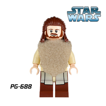 Qui-Gon Jinn Building Blocks Green Lightsaber Star Wars Diy figures Super Heroes Bricks Kids DIY Educational Toys PG688 - Five-Stars Store store