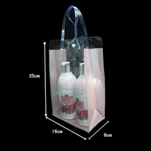 S size:16*25*8cm Hand bag Transparent Soft PVC Cosmetics bags Gift Exhibition Promotional Shampoo packing bags 100pcs/lot