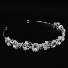 New Fashion princess diadem clear crystal crown pearl jewelry Nice rhinestone bridal tiara best gift for bride hair accessories