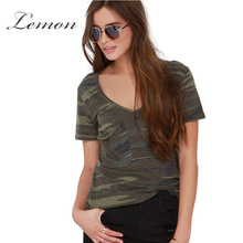 Lemon Sexy Camo Print Women Tees Fashion V Neck Short Sleeve Casual Street Style Shirt Army Green Loose Basic T-shirt