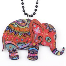 Bonsny elephant necklace pendant acrylic  2015 news accessories spring summer cute animal design girls woman fashion jewelry