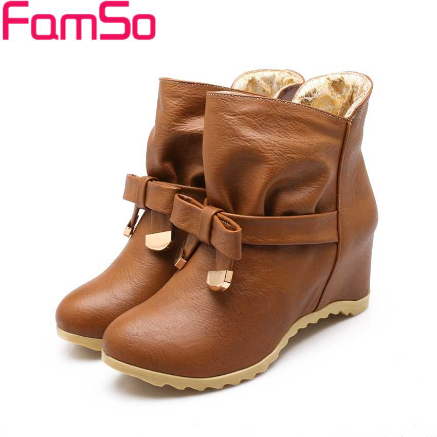 Plus Size34-43 2017 New Fashion Women  Spring Autumn Ankle Boots Wedges Pumps Solid Short Winter Womens Snow Boots SBT1798<br><br>Aliexpress
