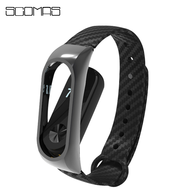 SCOMAS Carbon Fiber Replacement Wrist Strap Bracelet Xiaomi Miband 2 Metal Frame Smart Watch Band Xiaomi band 2 Miband 2