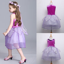 2017 New Kids Infant Girl Dresses Occasion Party Pretty Sleeveless Ball Gown Sequins Dress Girls Dress