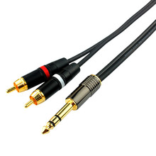 High Quality OFC 6.35mm Jake Stereo Male Plug Connector Cable to two RCA Male Audio Speaker Cable for MP3 HDTV DVD  1M 2M 3M 5M