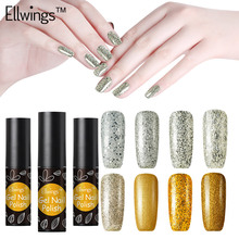 Ellwings Gold and Silver Nail Gel Varnishes Hybrid Glitter Diamond UV Gel Nail Polish Christmas Nail Lacquer 3D Nail Design(China)