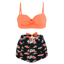 Orange Bikini Women Swimwear Plus Size Cute Bow Swimsuit High Waist Vintage Floral Beach Bathing Suits Biquini Large Size Bikini