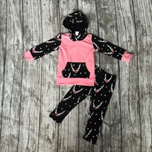 2016 winter girls boutique Christmas cotton clothing kids REINDEER outfits baby girls boutique hoodies clothing with pant sets