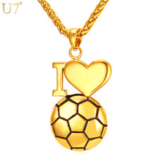 U7 Fitness Heart Necklace For Men/Women Stainless Steel Gold Color I Love Soccer Pendants & Necklaces Sport Jewelry P911(China)