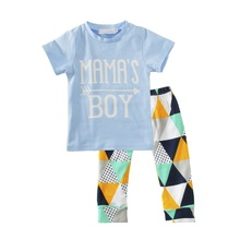 Summer Newborn Baby Boy Sets mama s boy Short Sleeve Tops+ Pants Leggings Outfits Clothes Children 2pcs Sets(China)