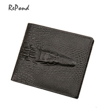 100% Genuine Leather Men's Crocodile Wallets Male Luxury Portable Cash Purses Brand Cash Clips Card Holders Carteiras Billetera