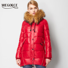 MIEGOFCE 2016 New Winter Collection Winter Women Coat Jacke Down Parka with a Real Raccoon Fur Coat for Women in European Style