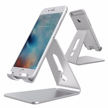 Desktop Cell Phone Stand Tablet Stand Advanced 4mm Thickness Aluminum Holder for iPhone 6 7 8 Plus iPad S7 S8 Edge Android Phone(China)