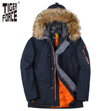TIGER FORCE 2017 Men Padded Parka Cotton Coat Winter Jacket Mens Fashion Winter Coat Thick Parkas Artificial Fur Free Shipping(China)