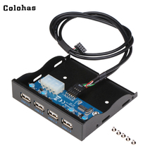 Colohas 3.5 inch 4 Ports USB 2.0 HUB Floppy Bay Front Drive Panel Bracket Expansion Adapter Connector with 60cm Cable for PC(China)