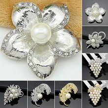 Wedding Bridal Flower Grapes Leaf Faux Pearls Brooch Crystal Alloy Pin Brooches  A584