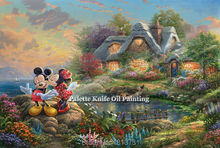 Thomas Kinkade Oil Paintings Mickey And Minnie Mouse Wall Art Pictures Canvas Paintings Cuadros Decorations Posters and Prints(China)