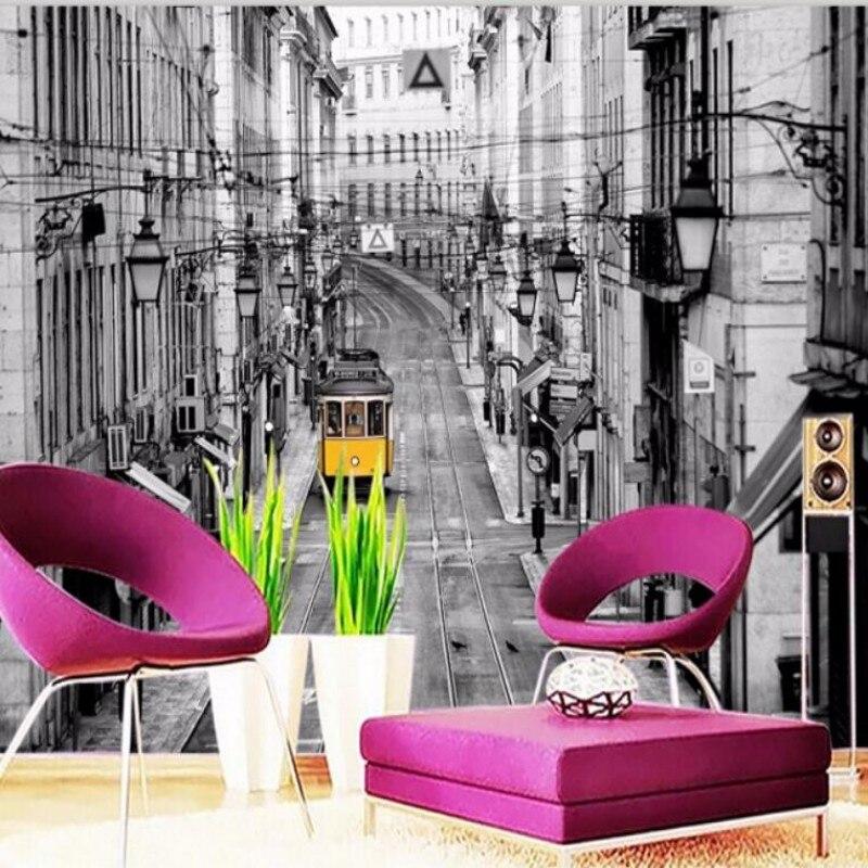 Custom 3D wallpaper stereoscopic Vintage London street bus yellow background mural living room wall paper room  3D wall paper<br><br>Aliexpress