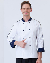 2017 New Hot Sale Men's Long Sleeve Chef Uniform Western Restaurant And Cake Baking Jacket Conrast Stand Collar Canteen Servers
