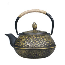 800ml Japanese Peony Flower Cast Iron Thermal Drinkware Home Tea Set Chinese Kung Fu Tea Pot Teapot Water Bottle Cooking Tools
