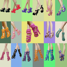 1pair Many Style Your Choice Fashion Design Shoes High Heel Shoes For Monster High Dolls Sandals For 1/6 Monster Dolls(China)