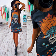 Punk Skull Print rove russia dress women vintage retro color dress 2017 summer shirt short-sleeve sexy casual mini shift dress